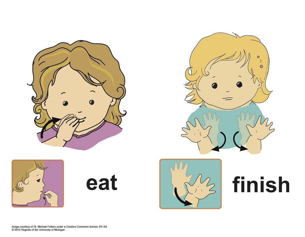 Picture depicting sign language for eat and finish